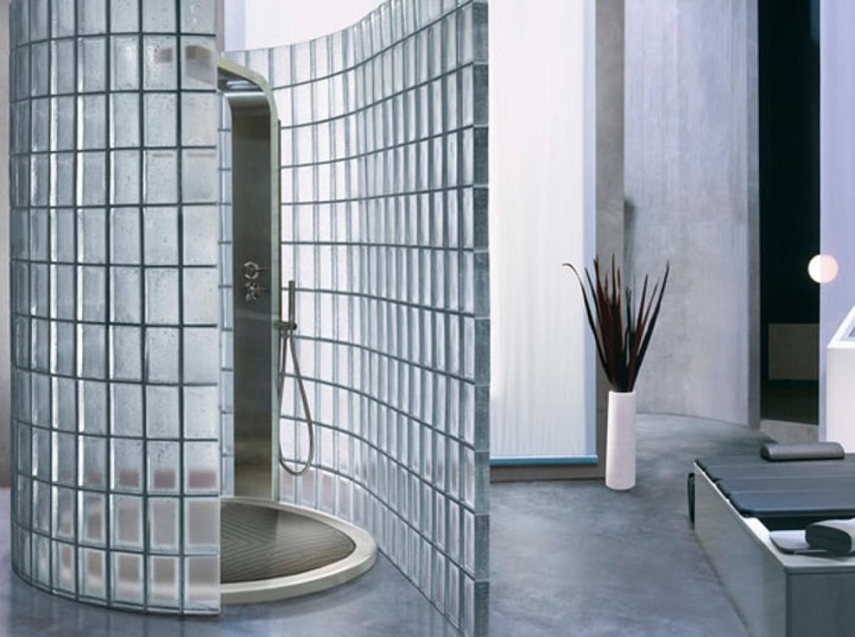 Glass brick shower walls