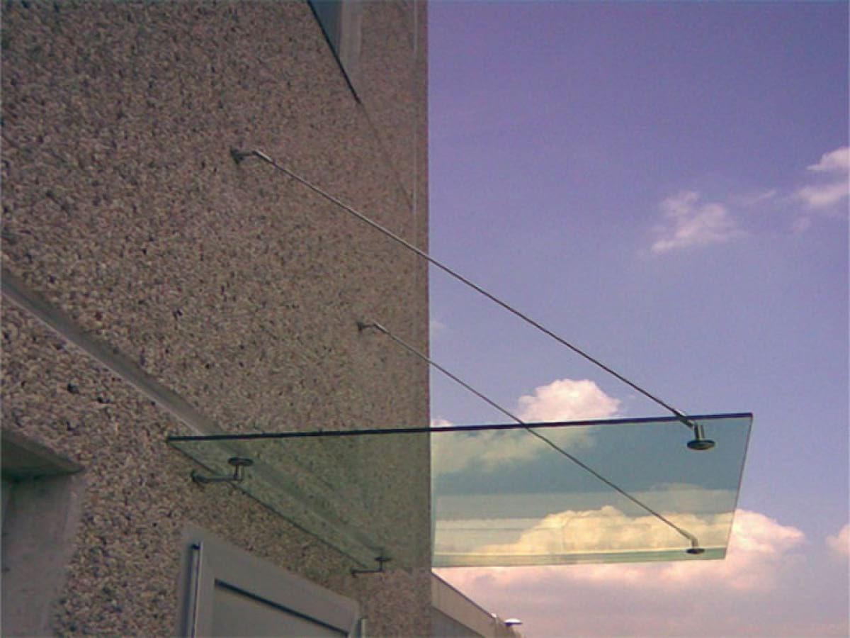 Pensiline con vetro piano
